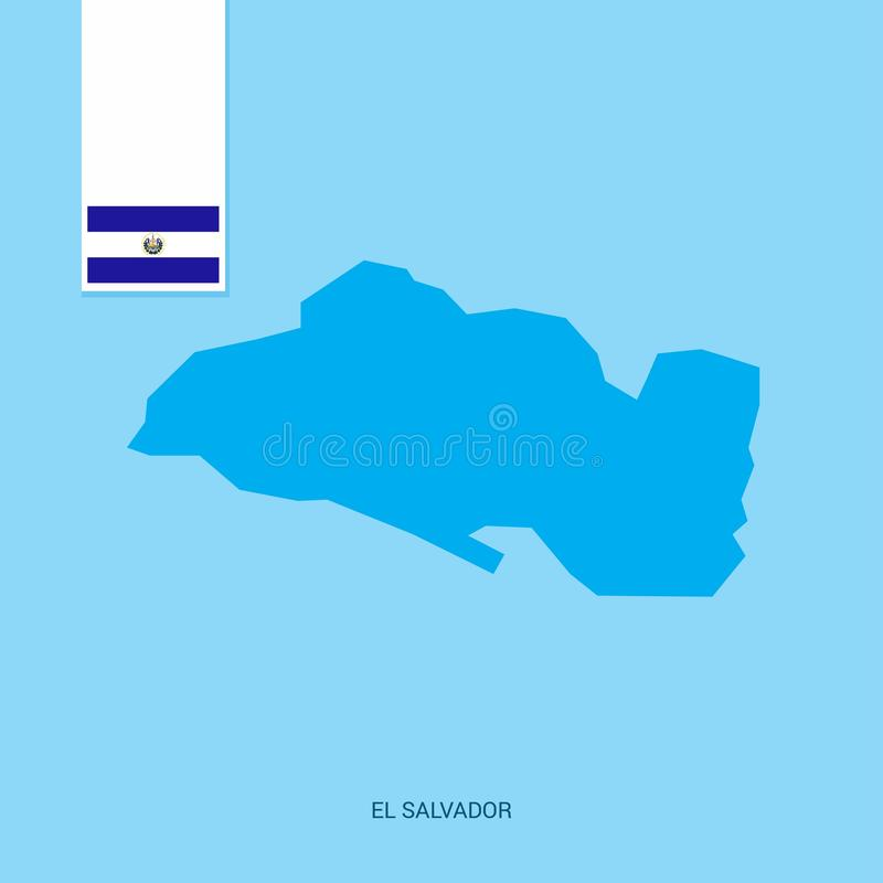 El Salvador Country Map with Flag over Blue background vector illustration