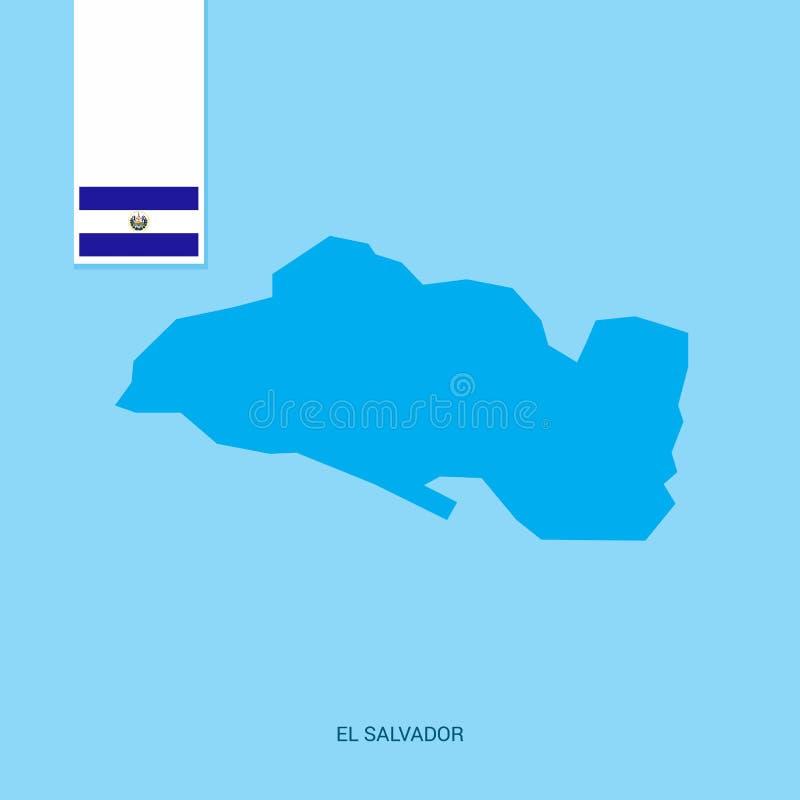 EL Salvador Country Map mit Flagge über blauem Hintergrund vektor abbildung