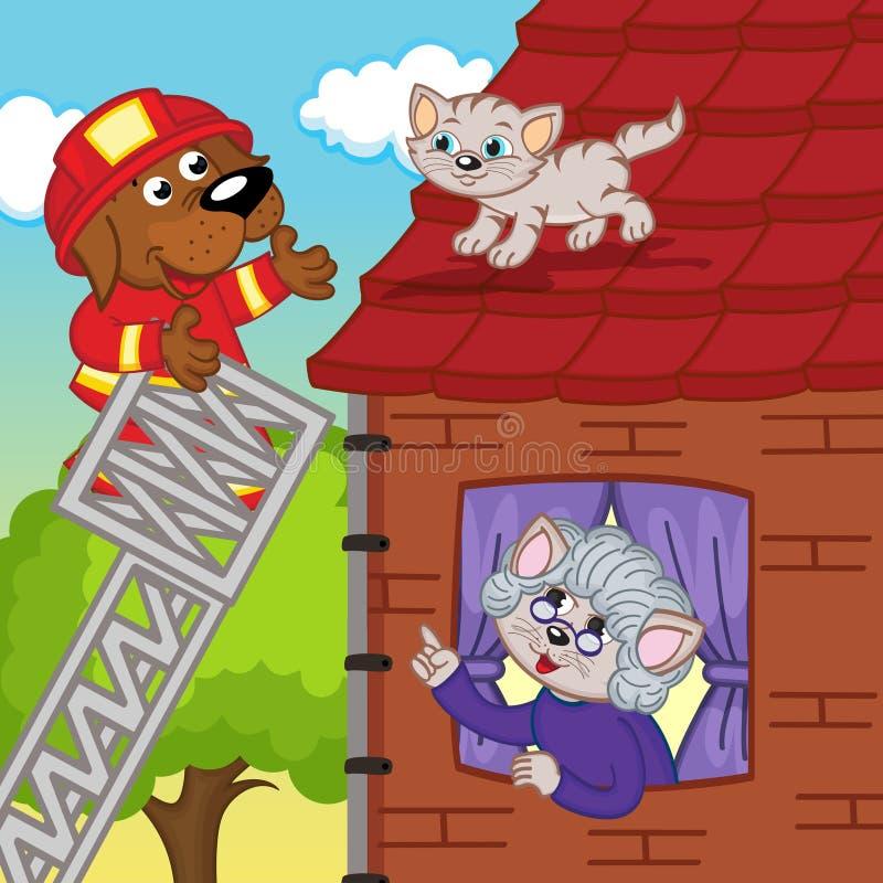 El salvador del perro quita el gatito del tejado ilustración del vector
