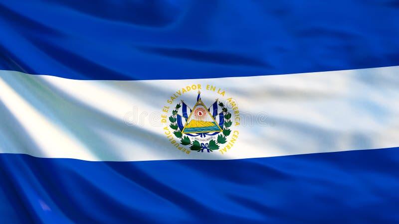EL Salvador Flag Bandiera d'ondeggiamento dell'illustrazione di El Salvador 3d illustrazione di stock