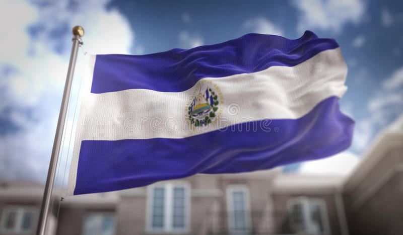 El Salvador Flag 3D Rendering on Blue Sky Building Background. Digital Art stock photos
