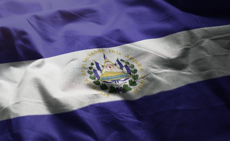 EL Salvador Flag Rumpled Close Up foto de archivo