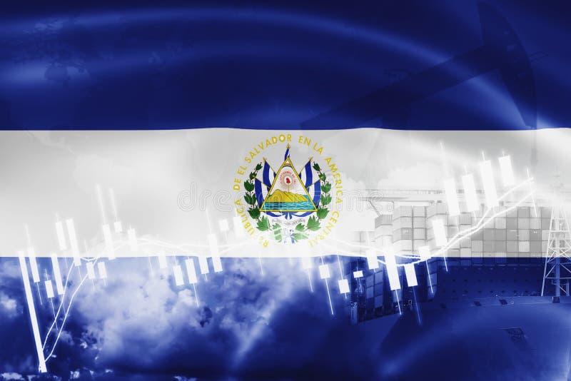 El Salvador Flagge, Börse, Austauschwirtschaft und Handel, Erdölgewinnung, Containerschiff im Export- und Importgeschäft und lizenzfreie abbildung