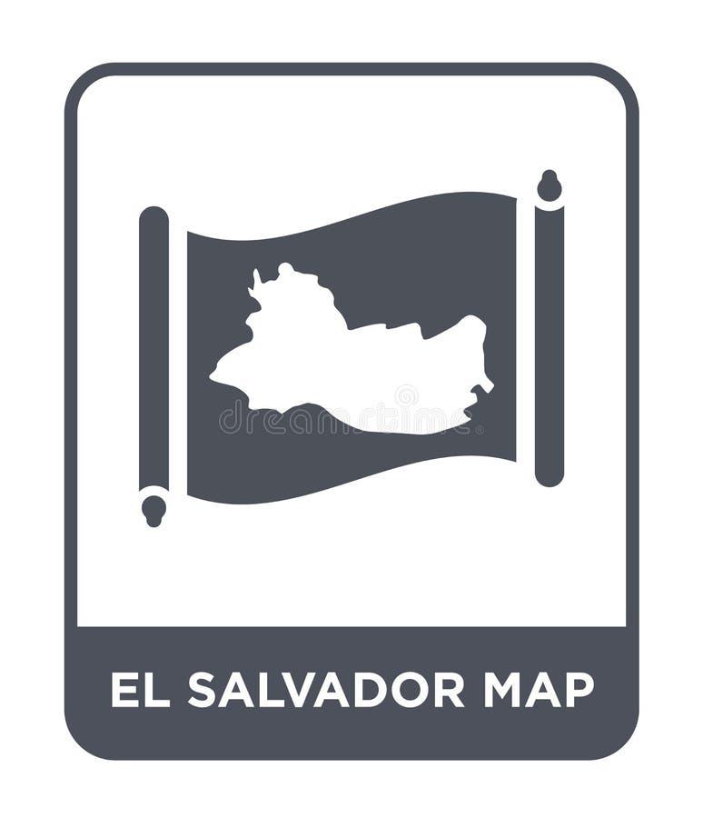 El Salvador Kartenikone in der modischen Entwurfsart El Salvador Kartenikone lokalisiert auf weißem Hintergrund El Salvador Karte lizenzfreie abbildung