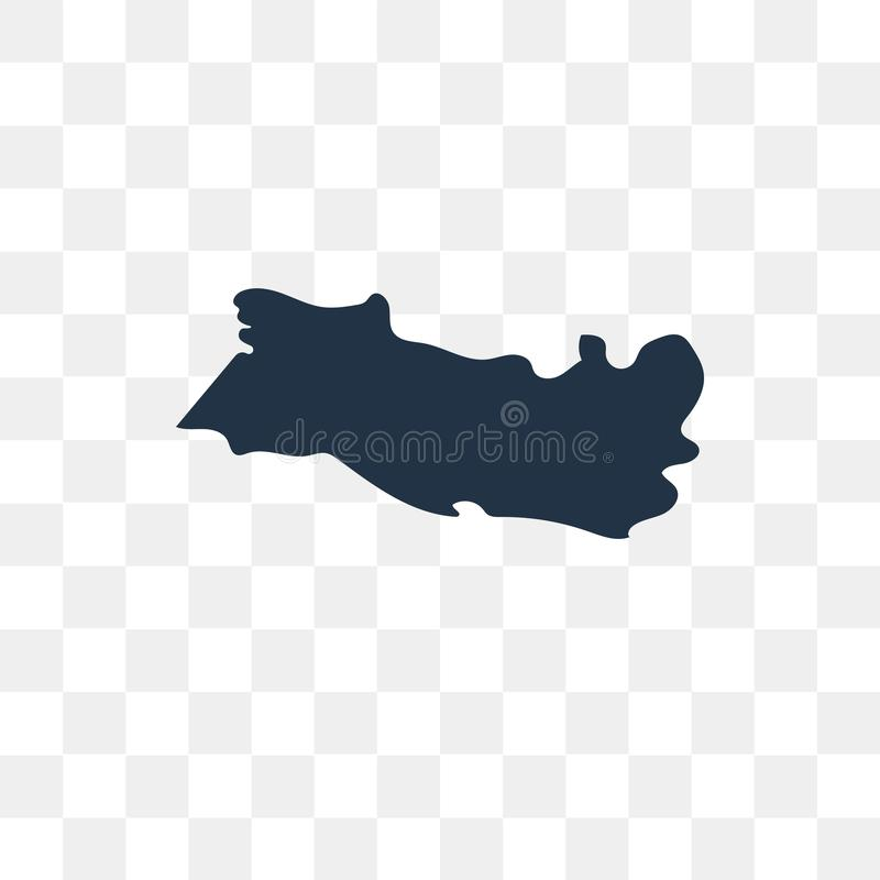 El Salvador map vector icon isolated on transparent background, royalty free illustration