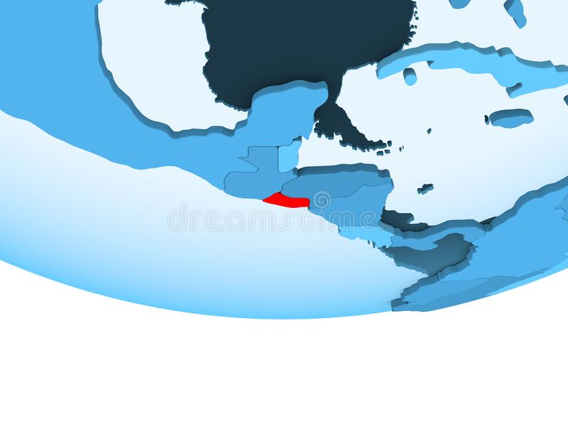 El Salvador nel rosso sulla mappa blu illustrazione di stock