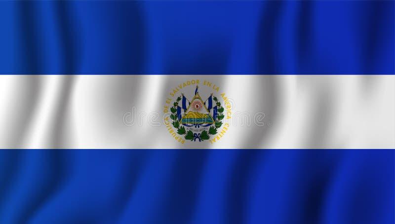 El Salvador realistische wellenartig bewegende Flaggen-Vektorillustration eingebürgert vektor abbildung