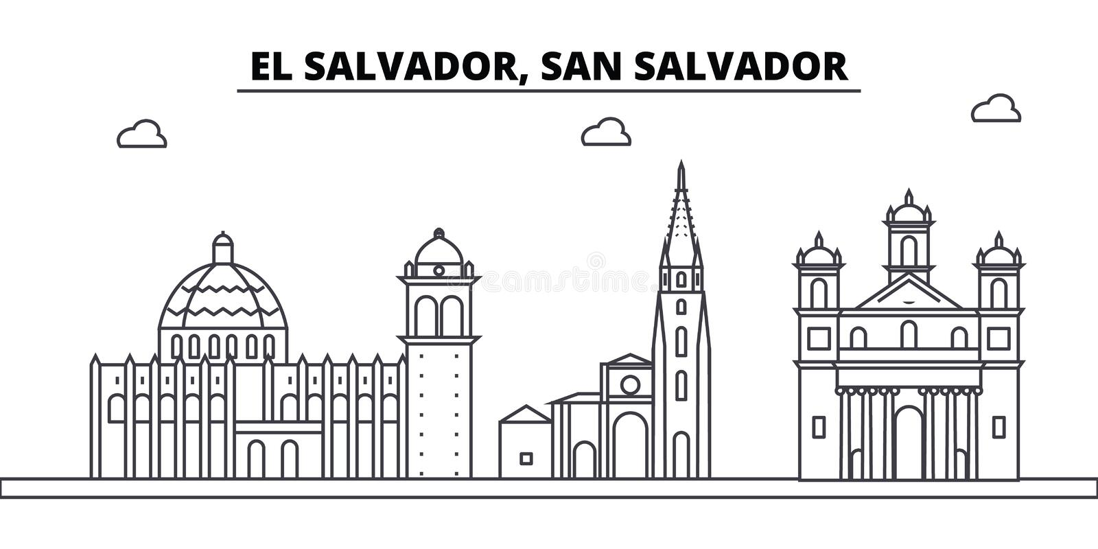 El Salvador, San Salvador architecture skyline buildings, silhouette, outline landscape, landmarks. Editable strokes royalty free illustration