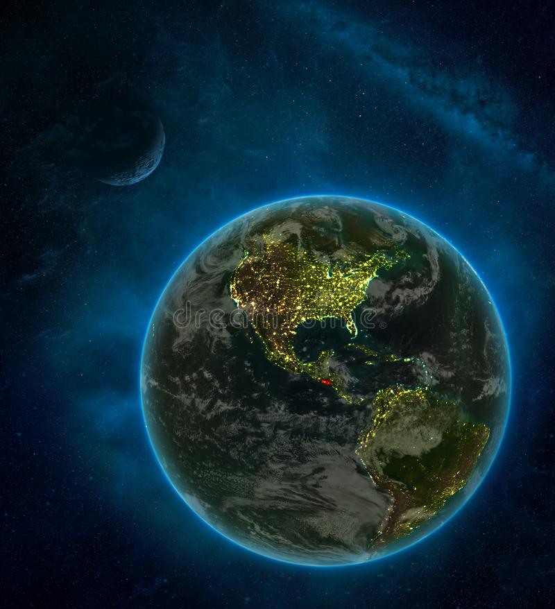 El Salvador from space on Earth at night surrounded by space with Moon and Milky Way. Detailed planet with city lights and clouds. 3D illustration. Elements of vector illustration