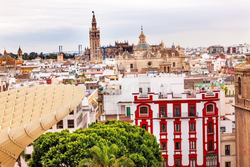 EL Salvador Spain de la catedral de Giralda Sevilla foto de archivo libre de regalías