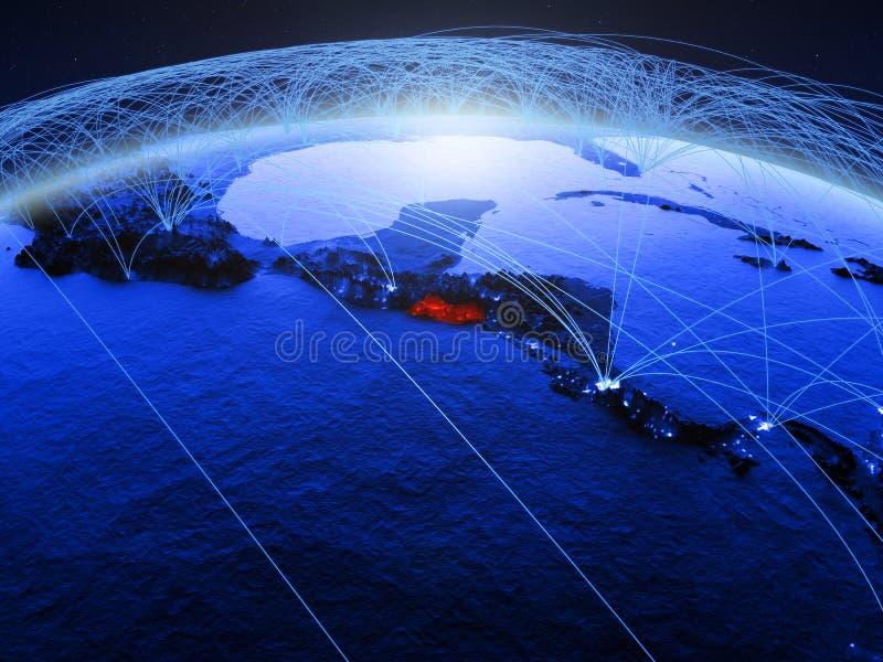 El Salvador su pianeta Terra digitale blu con la rete internazionale che rappresenta comunicazione, viaggio ed i collegamenti 3d illustrazione vettoriale
