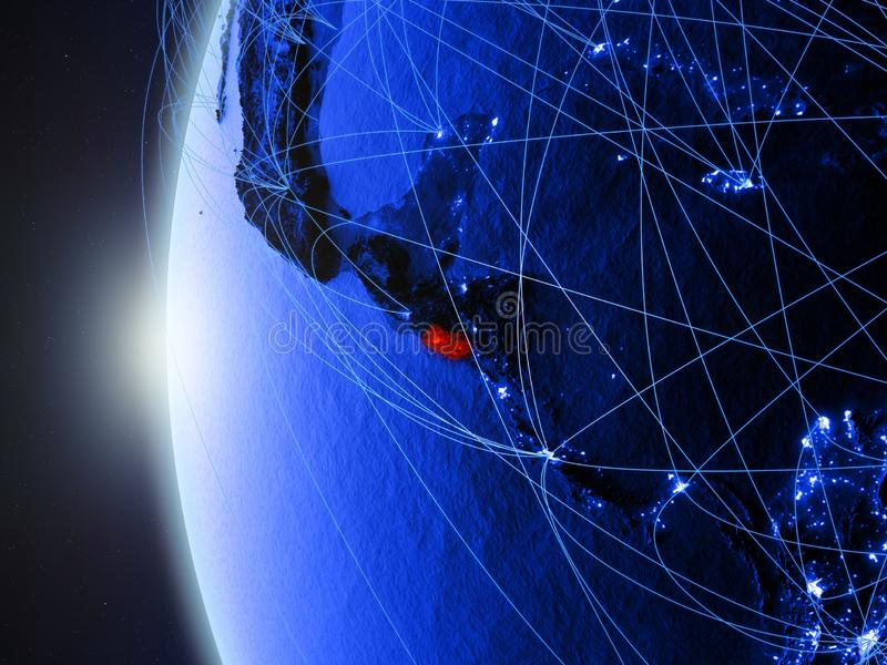 El Salvador su terra blu con la rete illustrazione vettoriale