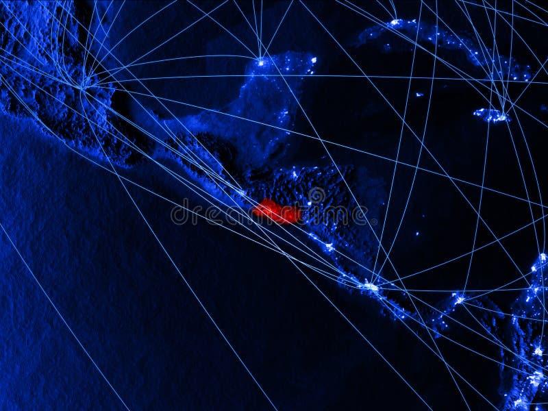 El Salvador sulla mappa digitale blu con le reti Concetto del viaggio internazionale, della comunicazione e della tecnologia illu illustrazione di stock