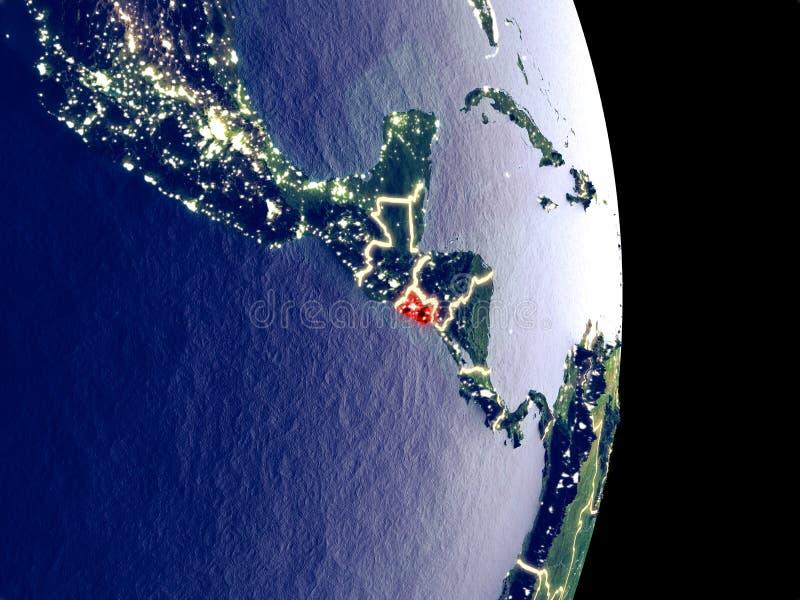 El Salvador sulla terra di notte fotografia stock libera da diritti