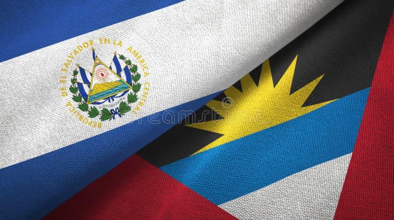 El Salvador und des Antigua und Barbuda zwei Flaggentextilstoff, Gewebebeschaffenheit vektor abbildung