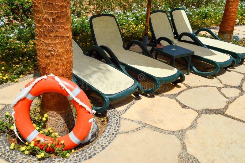 El salvavidas anaranjado para la seguridad de la natación descansa sobre un piso de piedra contra un fondo de flores y de ociosos fotografía de archivo