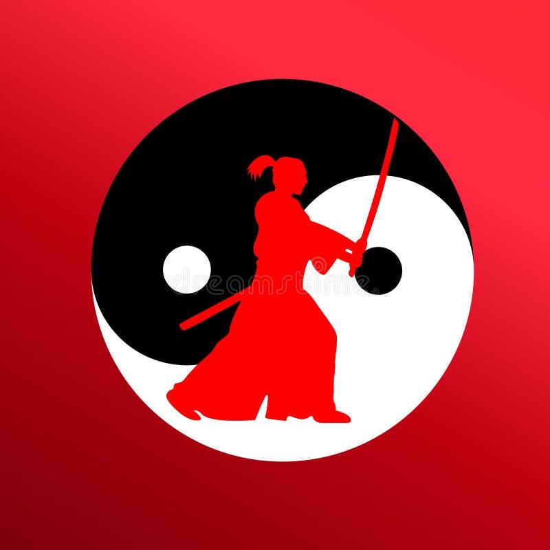 El samurai que ataca con una espada contra la perspectiva de un yin yan del símbolo stock de ilustración