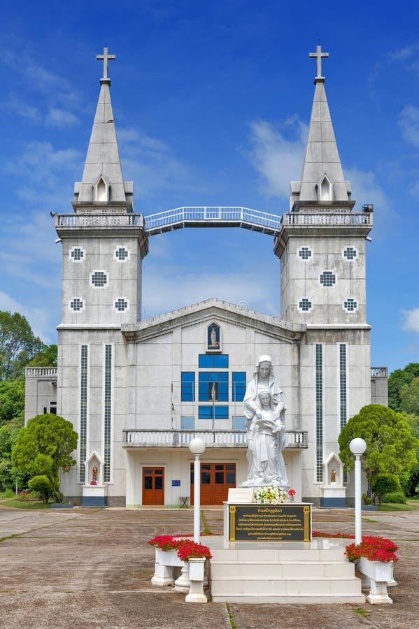 El santo Anna Nong Saeng Catholic Church, señal religiosa de Nakhon Phanom construyó en 1926 por los sacerdotes católicos fotos de archivo libres de regalías