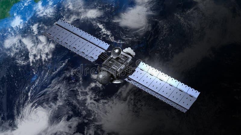 El satélite está moviendo en órbita alrededor de la tierra libre illustration