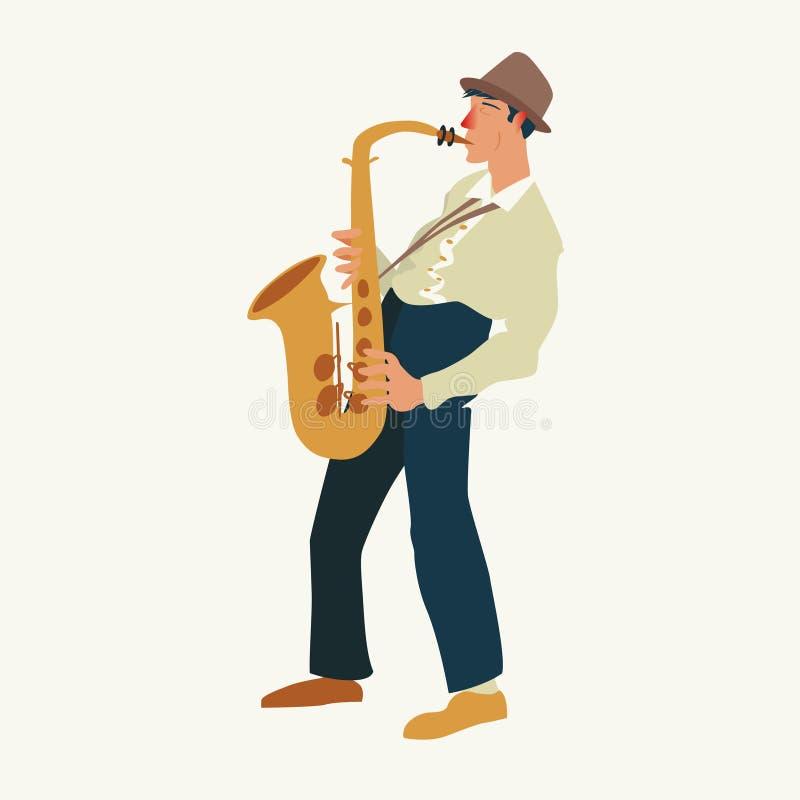 El saxofonista Jazz o el músico de los azules, el hombre toca un saxofón Ilustración del vector ilustración del vector