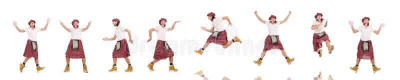 El scotsman divertido aislado en blanco fotos de archivo libres de regalías