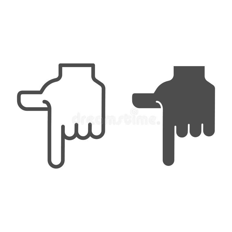 El señalar abajo de línea de mano y de icono del glyph Dirección abajo del ejemplo del vector aislado en blanco El dedo índice qu libre illustration