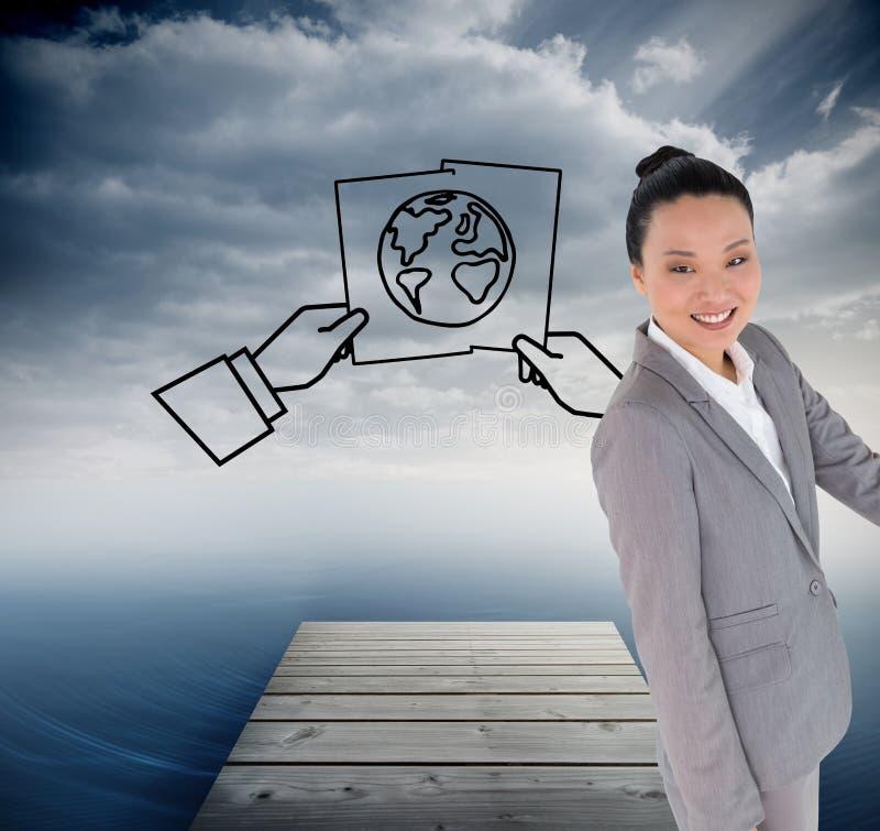 El señalar asiático sonriente de la empresaria ilustración del vector