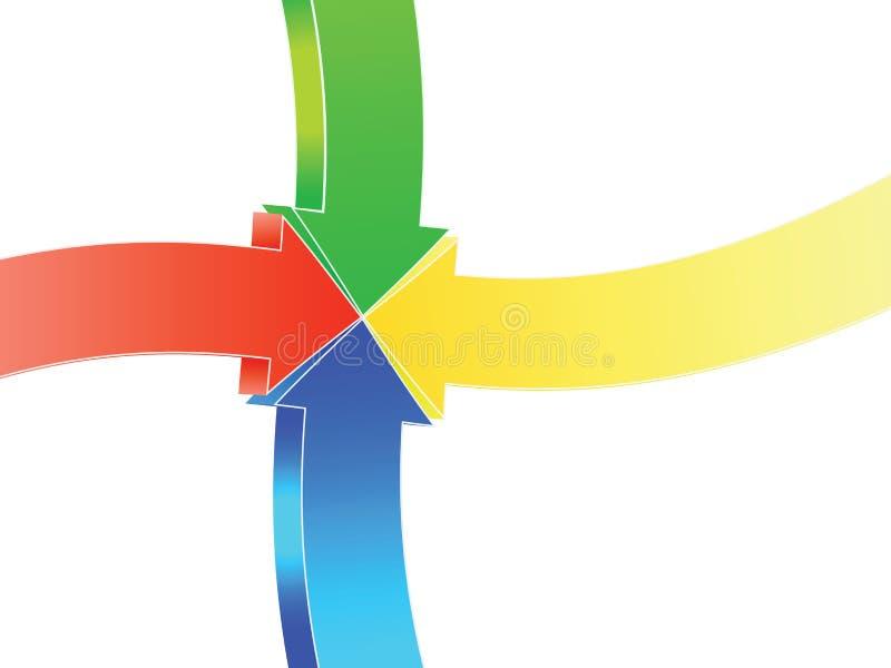 El señalar de cuatro flechas stock de ilustración