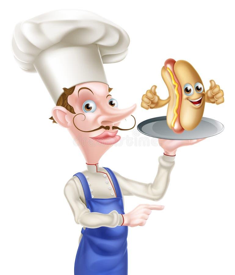 El señalar de Holding Hot Dog del cocinero de la historieta ilustración del vector