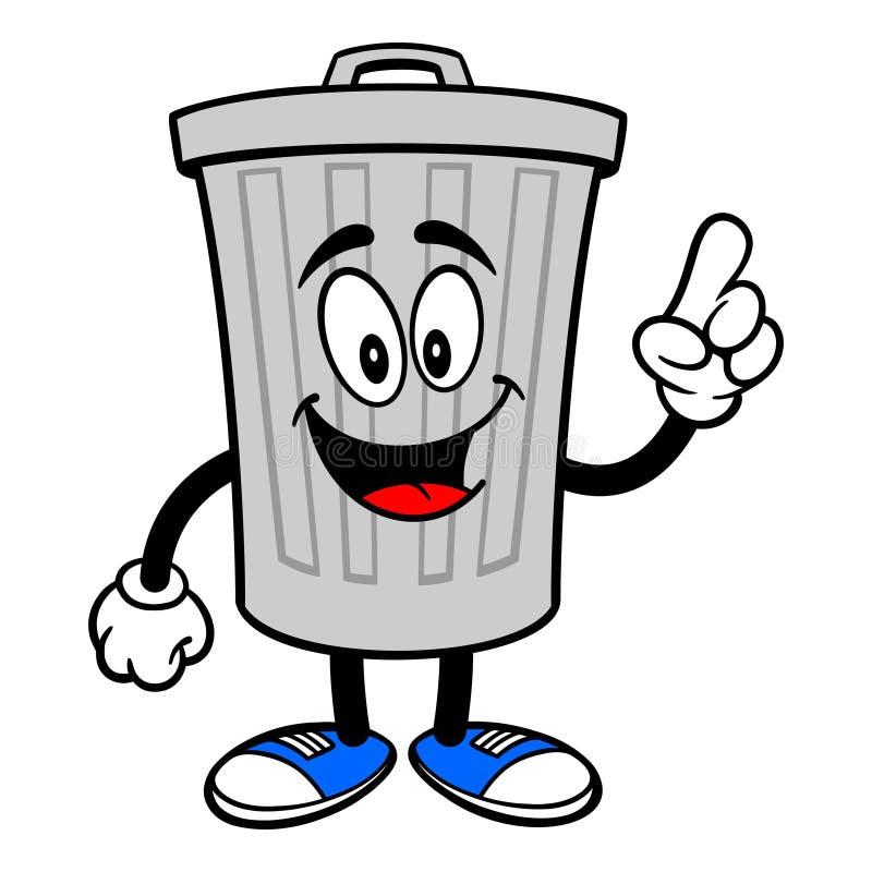 El señalar de la mascota del bote de basura ilustración del vector