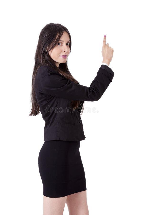 El señalar de la mujer de negocios fotos de archivo