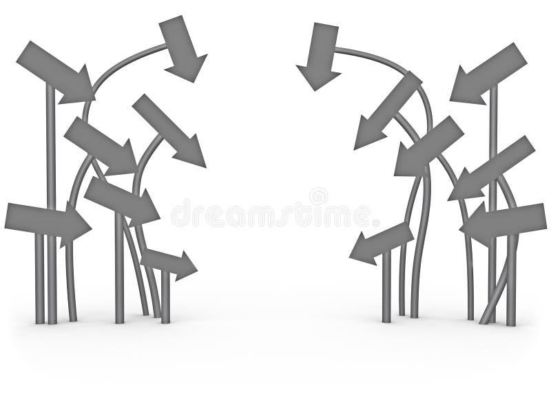 El señalar de las flechas stock de ilustración
