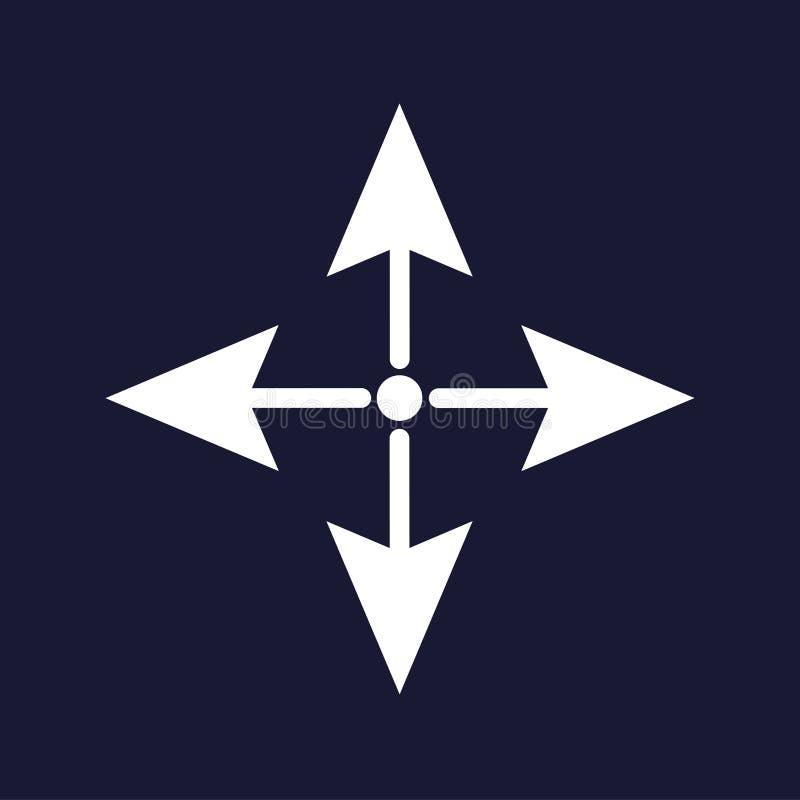 El señalar de las flechas delantero, posterior, correcto e izquierdo Engrana el icono stock de ilustración