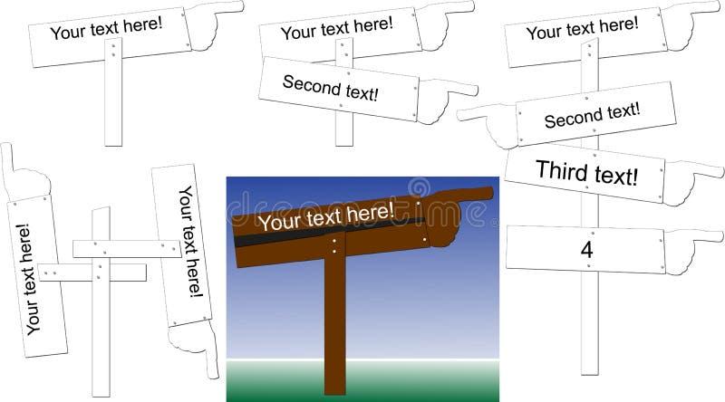 El señalar de los posts de muestra stock de ilustración