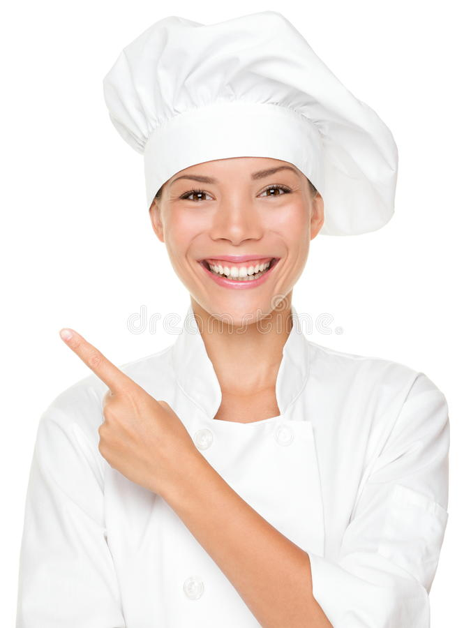 El señalar del cocinero de la mujer fotos de archivo libres de regalías