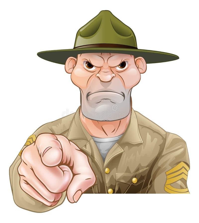 El señalar del sargento de taladro del ejército de la historieta libre illustration