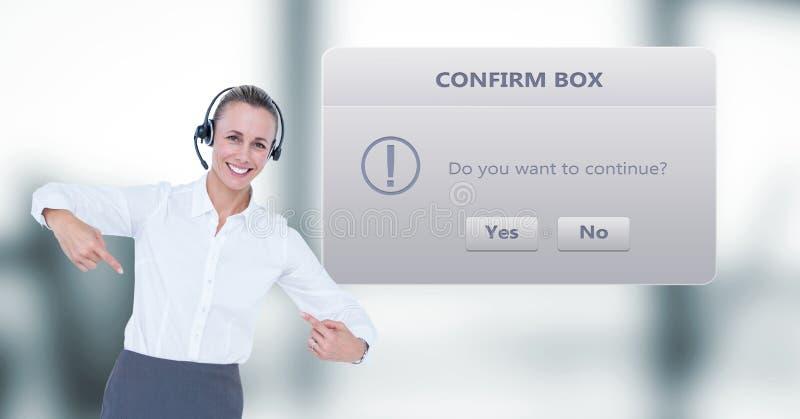 El señalar ejecutivo de la atención al cliente por el cuadro de diálogo imágenes de archivo libres de regalías