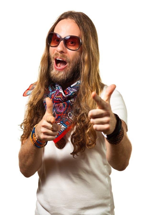 El señalar hermoso y divertido del hippie imágenes de archivo libres de regalías