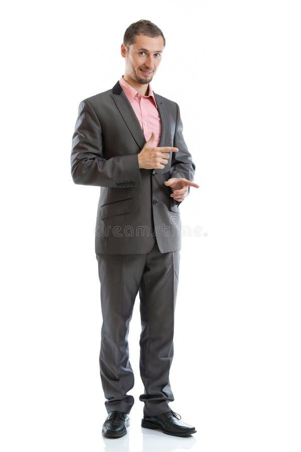 El señalar integral del hombre de negocios del lazo del traje fotografía de archivo