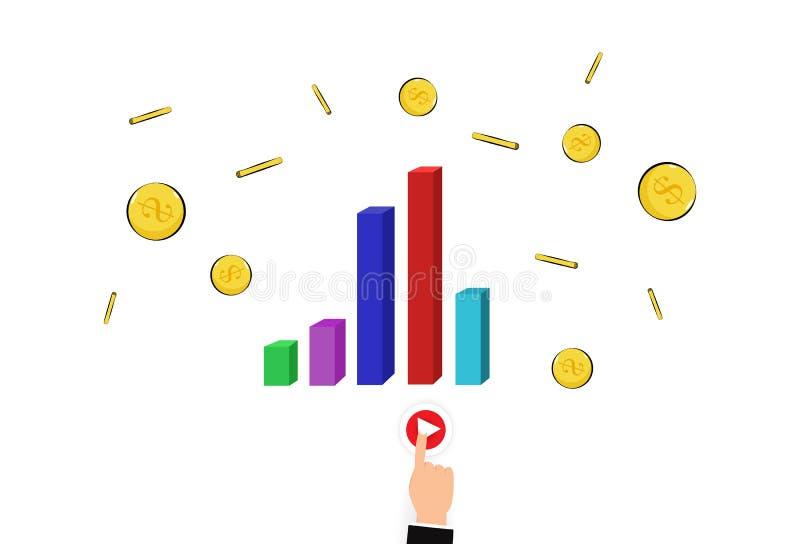 El señalar máximo del gráfico de barra del dinero de la blanco de la mano y del finger del negocio es libre illustration