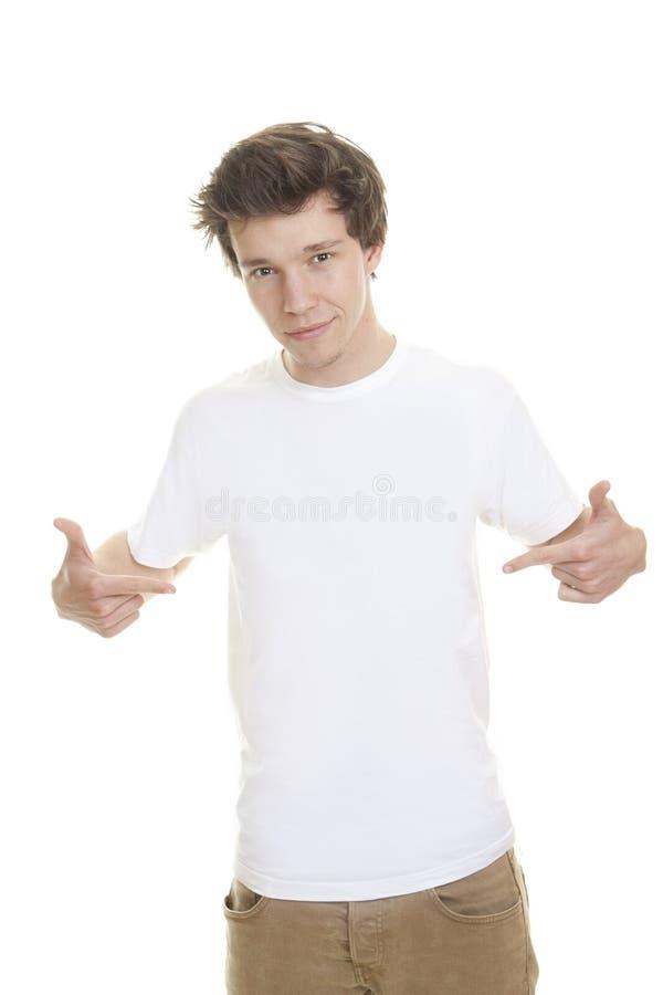 Modelo blanco en blanco de la camiseta fotos de archivo libres de regalías