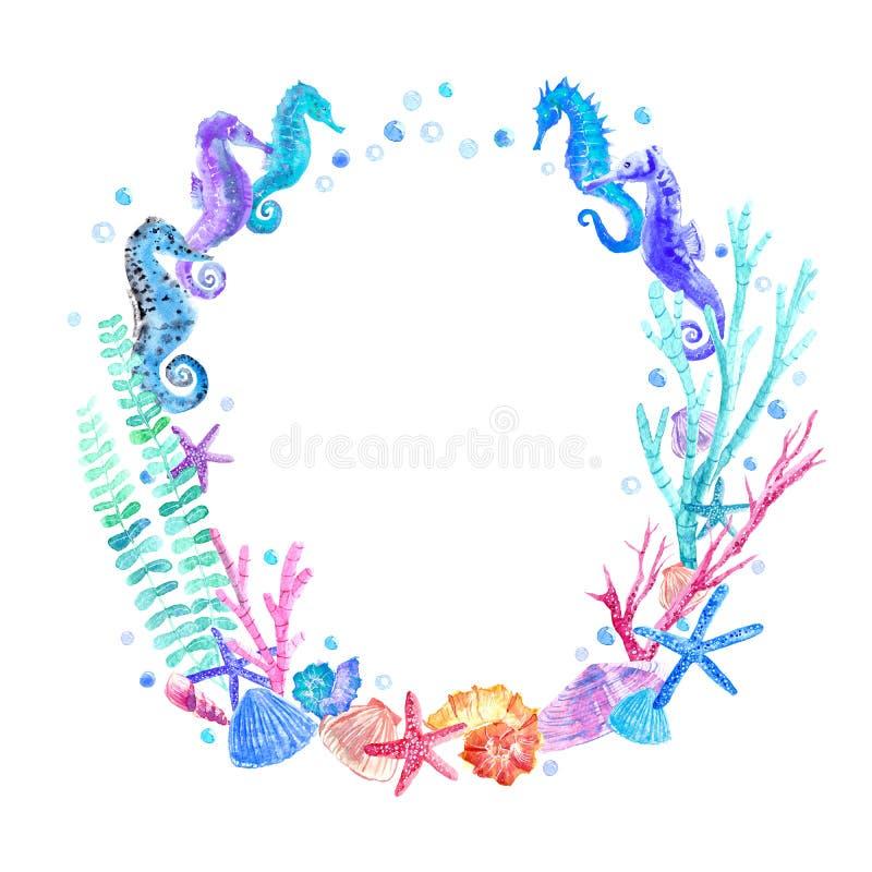 El Seahorse, la cáscara, las estrellas de mar, la alga marina, el coral y las burbujas enrruellan stock de ilustración