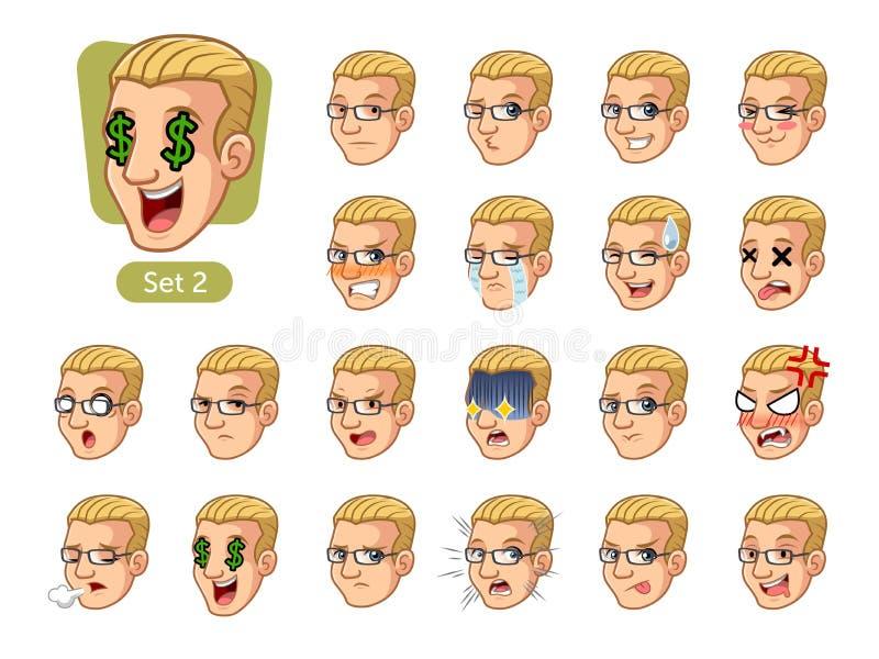 El segundo sistema de las emociones faciales masculinas con el pelo rubio ilustración del vector