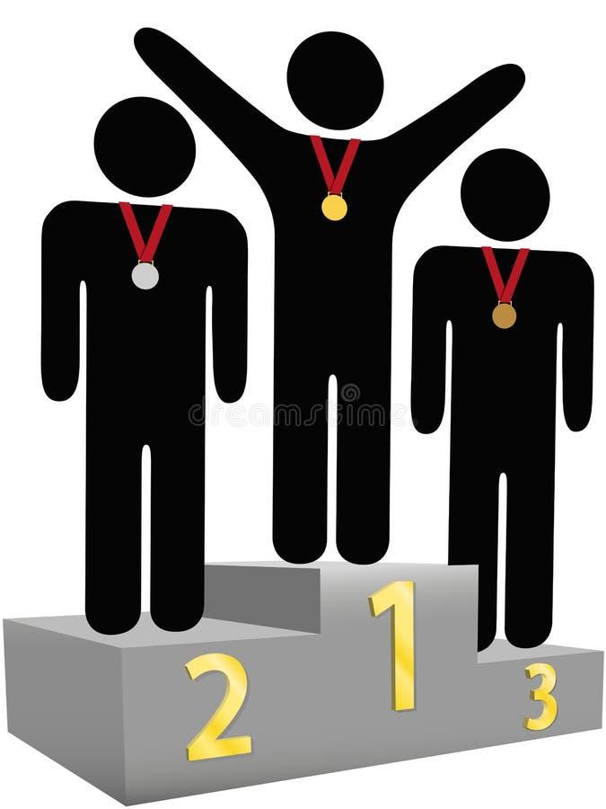 El segundo tercer lugar de los ganadores primero concede el podium ilustración del vector