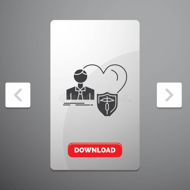 el seguro, familia, hogar, protege, icono del Glyph del corazón en diseño del resbalador de las paginaciones de la orgía y botón  stock de ilustración