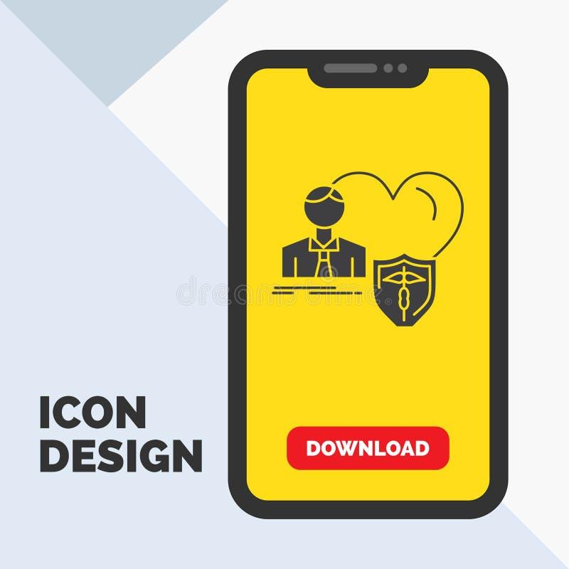 el seguro, familia, hogar, protege, icono del Glyph del corazón en el móvil para la página de la transferencia directa Fondo amar libre illustration
