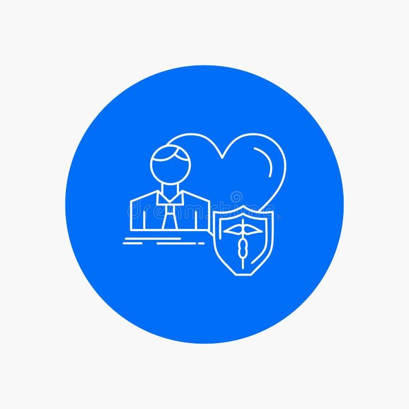 el seguro, familia, hogar, protege, la línea blanca icono del corazón en fondo del círculo Ejemplo del icono del vector stock de ilustración