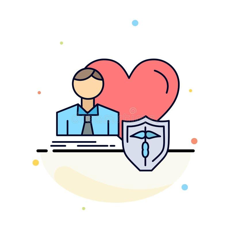 el seguro, familia, hogar, protege, vector plano del icono del color del corazón ilustración del vector
