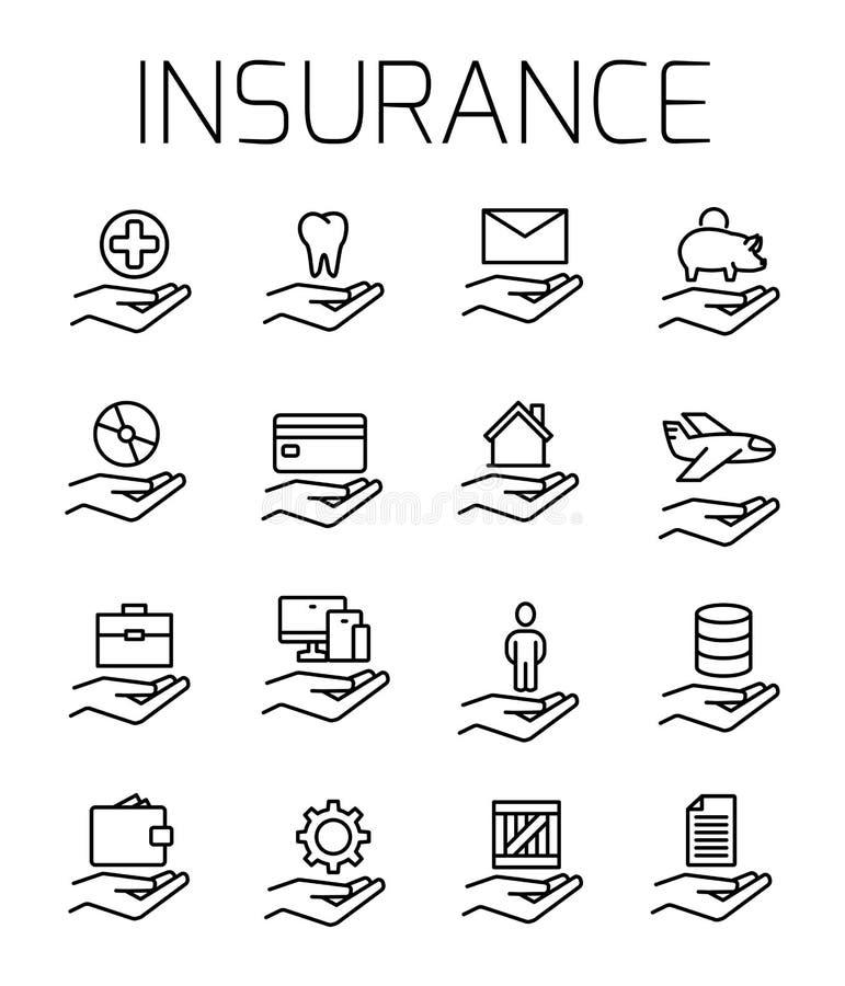 El seguro relacionó el sistema del icono del vector ilustración del vector