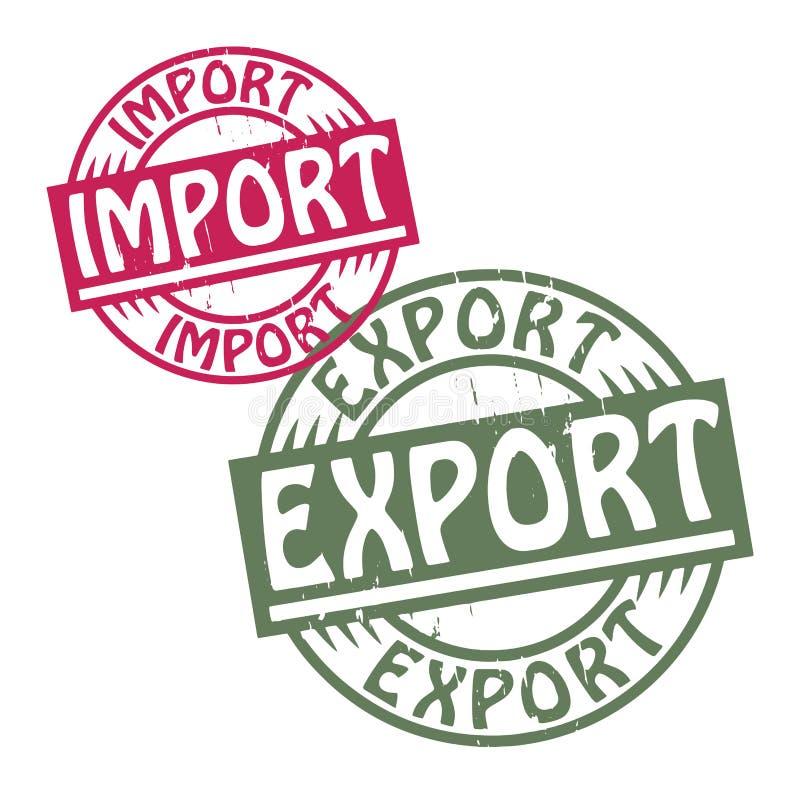 El sello de goma abstracto del grunge fijó con las importaciones/exportaciones w del texto ilustración del vector